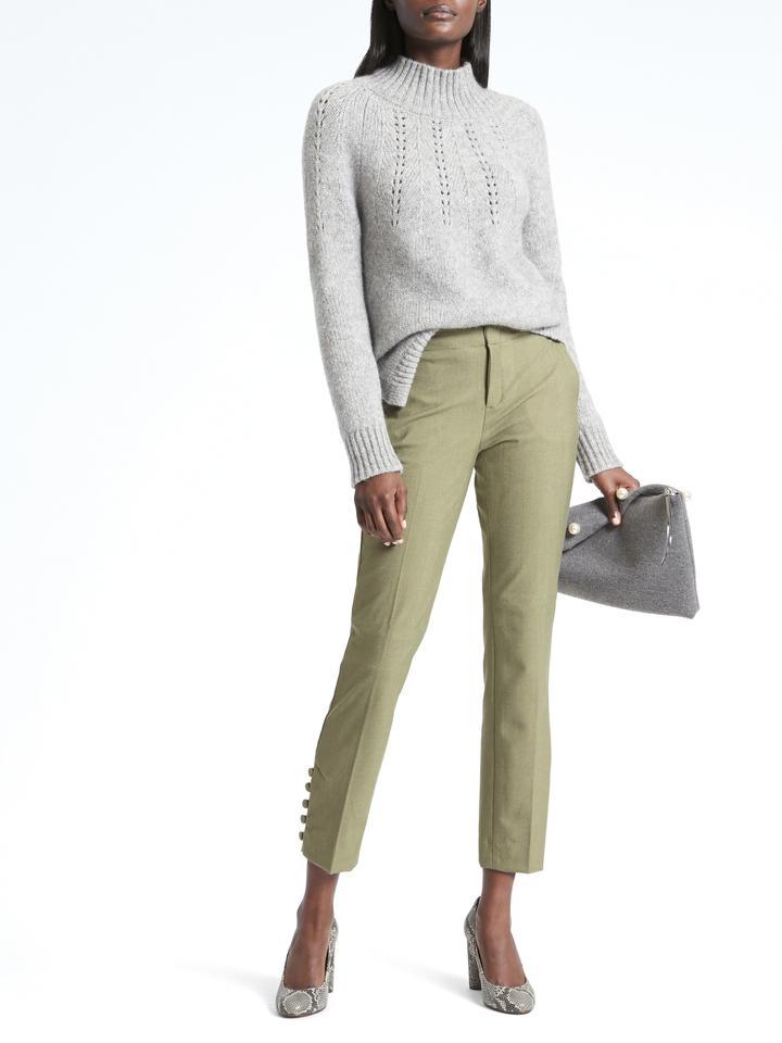 Kadın sage Avery Straight-Fit Düğmeli Pantolon