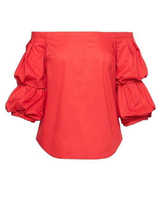 Kadın kırmızı Düşük Omuzlu Streç Bluz