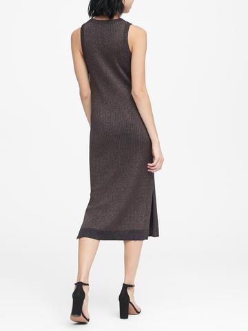 Kadın siyah Metalik Detaylı Kolsuz Elbise