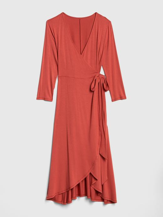 Kadın kırmızı 3/4 Kollu Midi Elbise