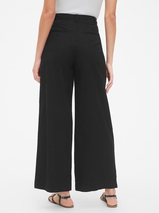 Kadın siyah Yüksek Belli Bol Paça Khaki Pantolon