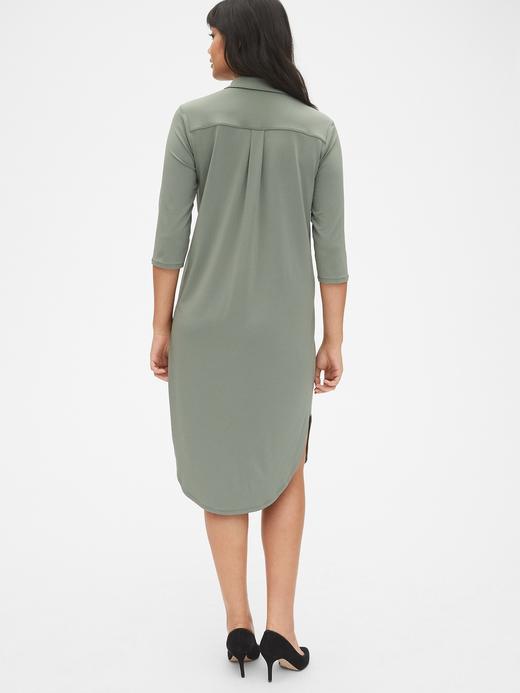Kadın yeşil Midi Gömlek Elbise