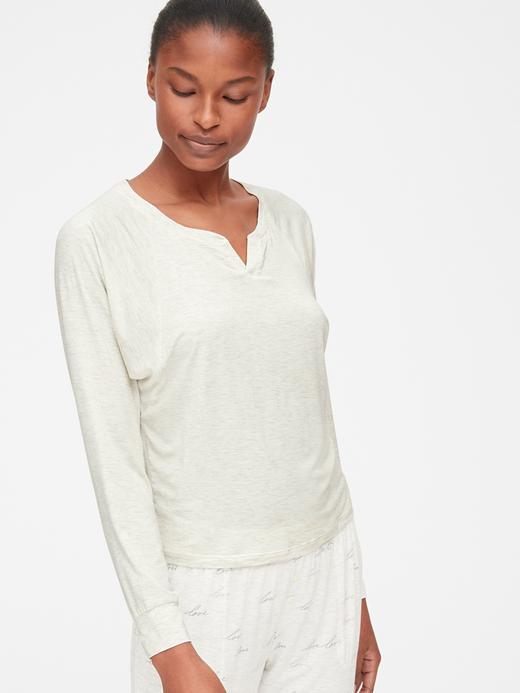 Modal Karışımlı Uzun Kollu Pijama Üstü
