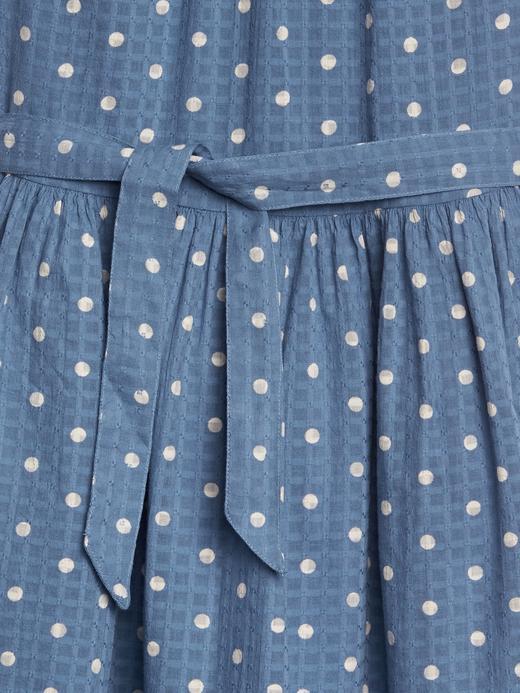 Kız Çocuk mavi Puantiye Desenli Kuşaklı Elbise