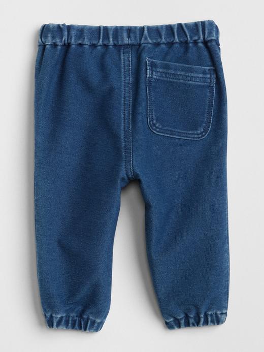 Bebek açık renk yıkama Bağcıklı Denim Jogger Pantolon
