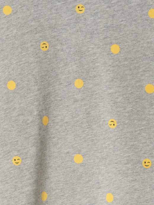 Kız Çocuk gri Gülen Surat Desenli Uzun Kollu Sweatshirt