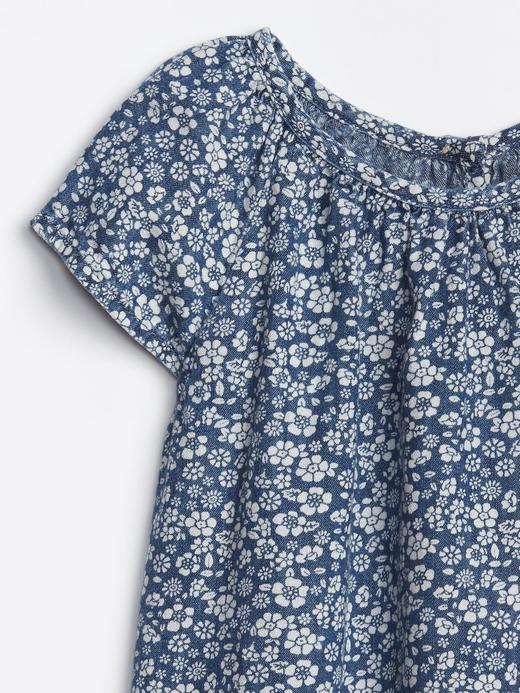 Çiçek Desenli Denim Elbise