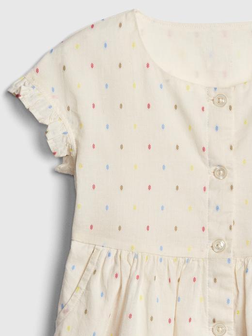 Bebek kırık beyaz Desenli Düğmeli Gömlek Elbise