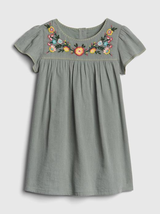 Çiçek İşlemeli Kısa Kollu Elbise