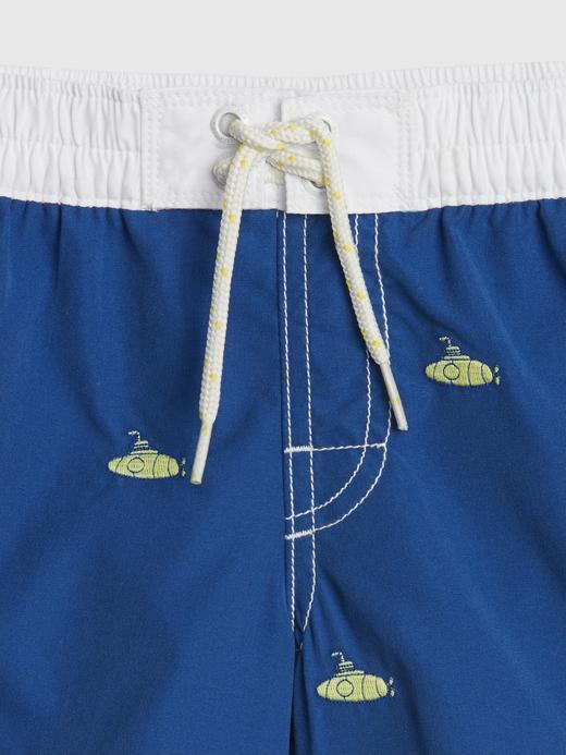 Bebek mavi Desenli Mayo Şort