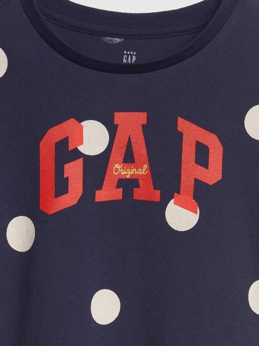 Logolu Puantiyeli Kısa Kollu T-Shirt