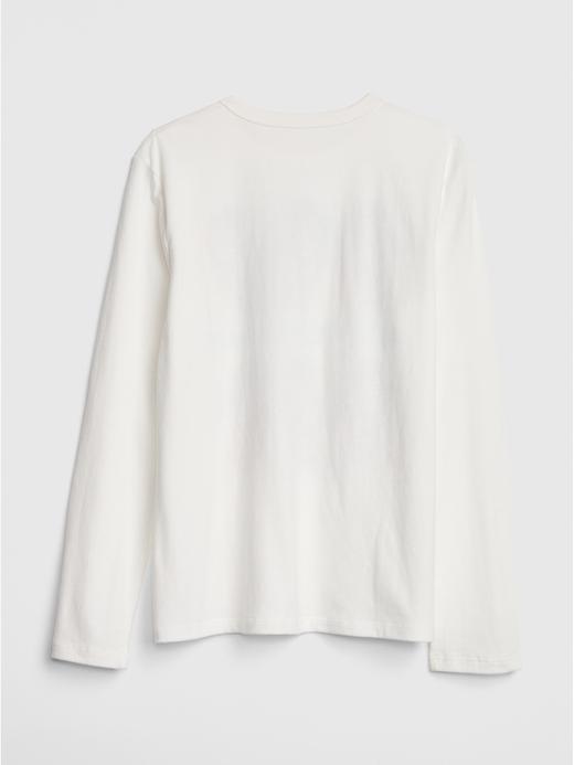 Erkek Çocuk kırık beyaz Baskılı Uzun Kollu T-Shirt