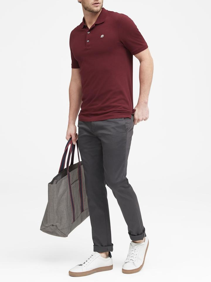 Erkek Bordo Signature Pique Polo Yaka T-Shirt