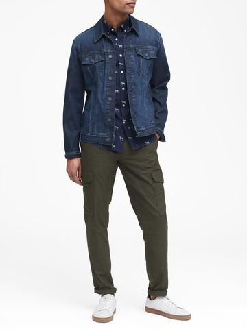 Erkek Gri Slim-Fit Luxe Poplin Desenli Gömlek