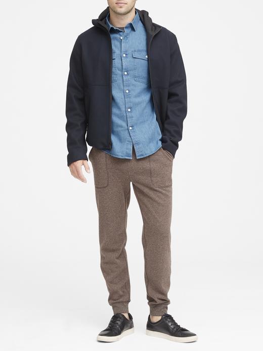 Erkek gri Slim-Fit Şambre Gömlek