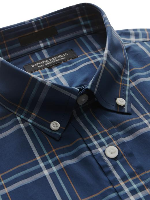 Slim-Fit-Tech Pamuklu Streç Ekose Gömlek