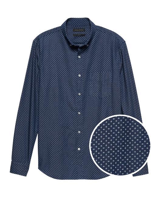 Slim-Fit Puantiyeli Şambre Gömlek