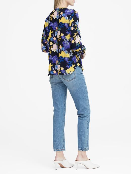 Kadın lacivert Çiçek Desenli Uzun Kollu V Yaka Bluz