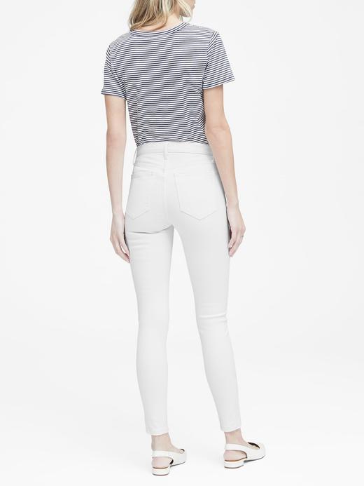 Yüksek Belli Skinny-Fit Düğmeli Beyaz Jean Pantolon
