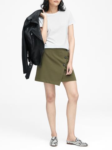 Kadın siyah Supima® Pamuklu Sıfır Yaka T-Shirt
