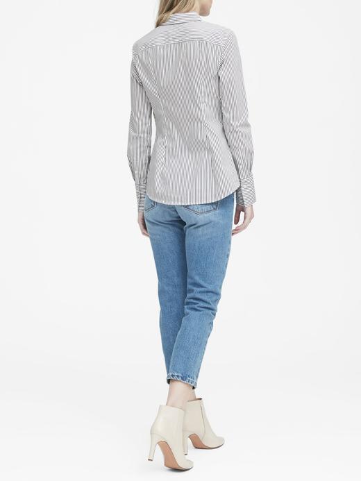 Kadın lacivert çizgili Riley Tailored-Fit Çizgili Gömlek