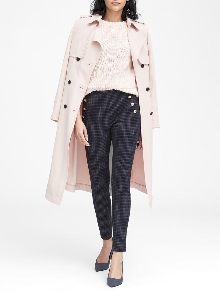 Kadın lacivert Yüksek Belli Ekose Pantolon