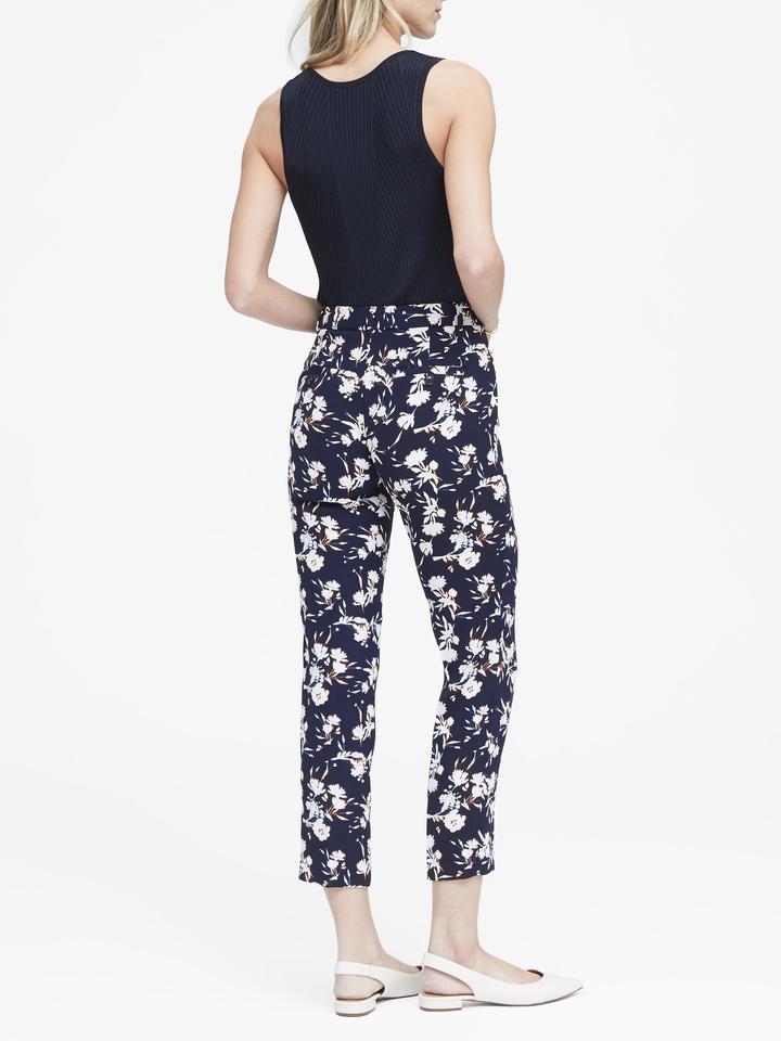 Kadın mavi Avery Straight-Fit Çiçek Desenli Pantolon