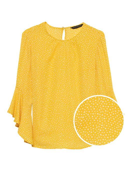 Kadın sarı Desenli Fırfır Kollu Bluz