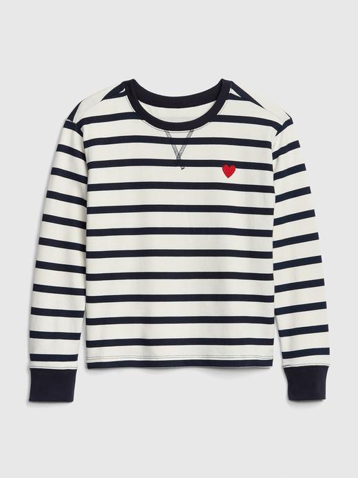 Kız Çocuk lacivert çizgili Çizgili ve Kalp Desenli Sweatshirt