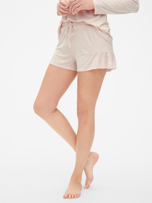 Kadın pembe çizgili Fırfır Detaylı Modal Şort