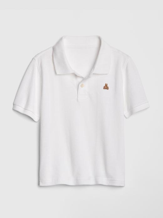Bebek beyaz Kısa Kollu Polo Yaka T-Shirt