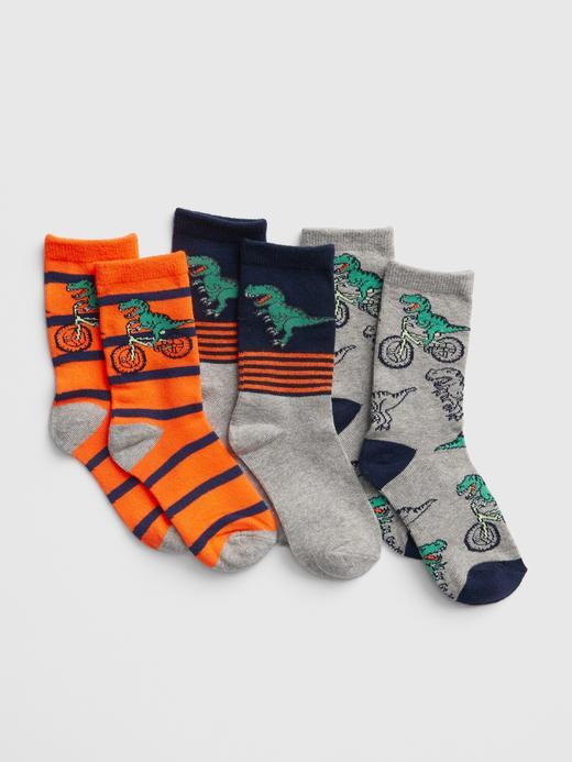 3'lü Dinozor Desenli Çorap