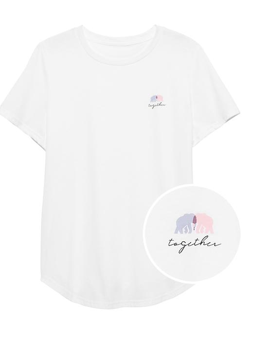 Fil Desenli Kısa Kollu T-Shirt