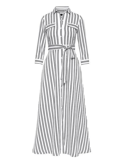 Kadın siyah ve beyaz çizgili Çizgili Maxi Gömlek Elbise
