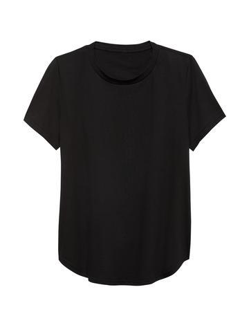 Kadın Siyah Supima® Yuvarlak Yaka T-Shirt