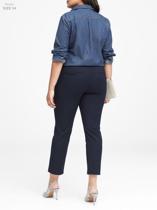 Kadın Lacivert Sloan-Fit Slim Bilekte Biten Pantolon