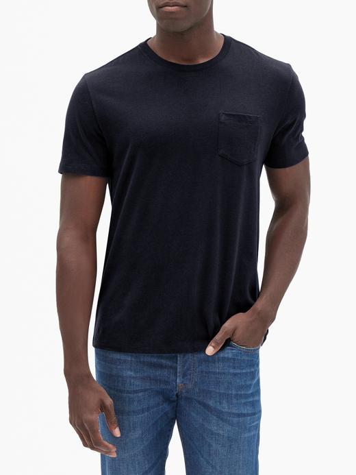 Erkek Siyah Sıfır Yaka Cepli T-Shirt