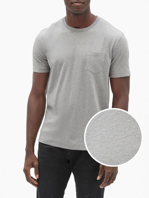 Erkek Gri Sıfır Yaka Cepli T-Shirt