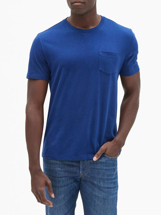 Erkek Mavi Sıfır Yaka Cepli T-Shirt