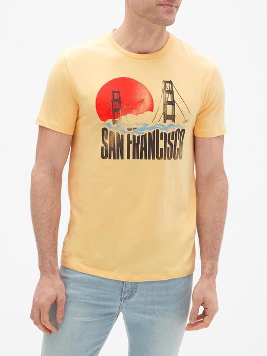 Erkek sarı Baskılı Sıfır Yaka Jarse T-Shirt