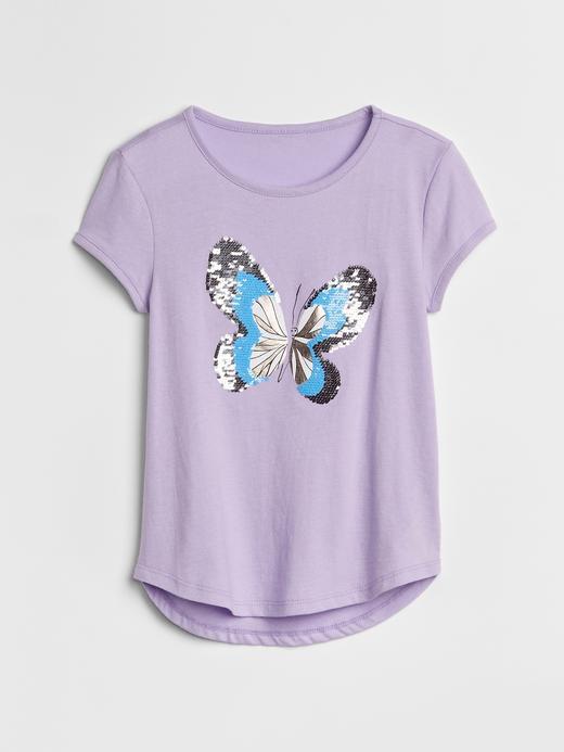 Kız Çocuk lila puantiyeli Değişen Pullu T-Shirt