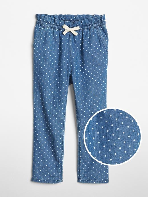 Puantiye Desenli Denim Pantolon