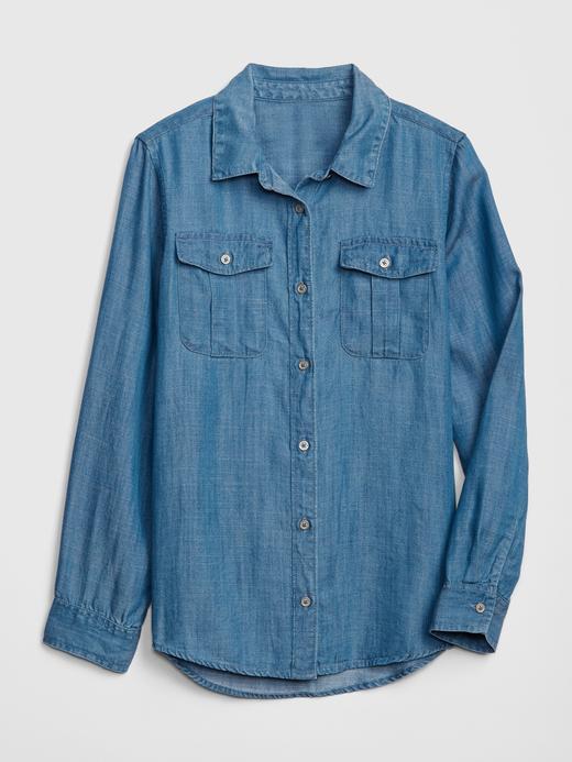 Kız Çocuk orta yıkama Uzun Kollu Denim Gömlek