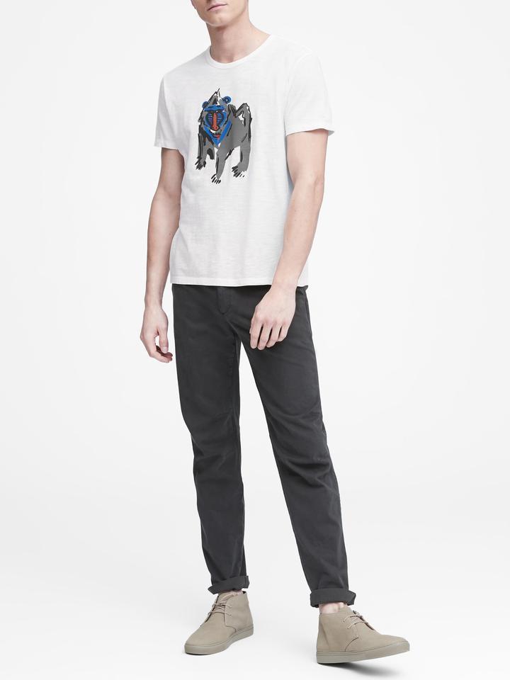 Maymun Desenli Kısa Kollu T-Shirt