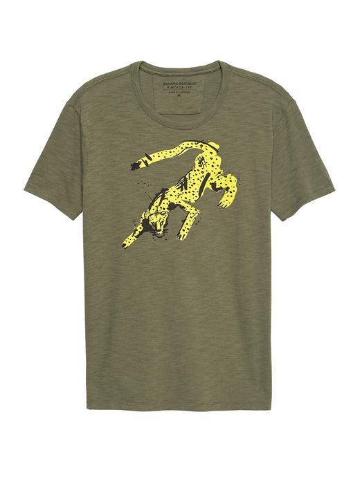 Çita Desenli Kısa Kollu T-Shirt