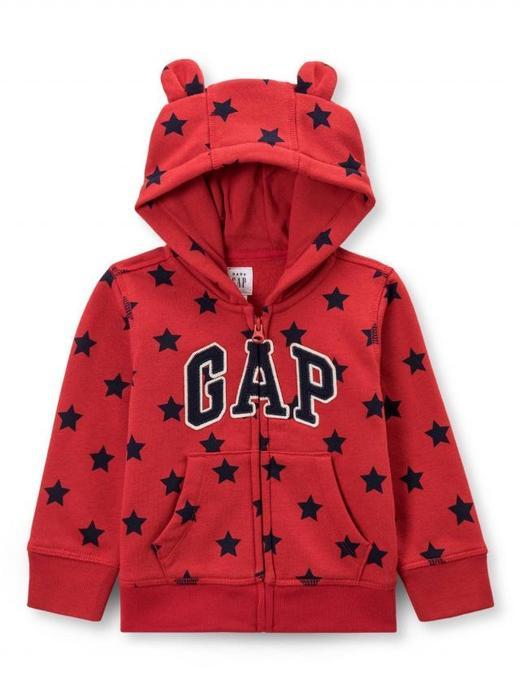 Yıldız Desenli Logolu Fermuarlı Sweatshirt