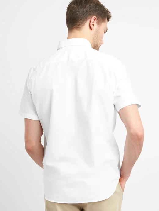 Erkek mavi Oxford Kısa Kollu Streç Gömlek