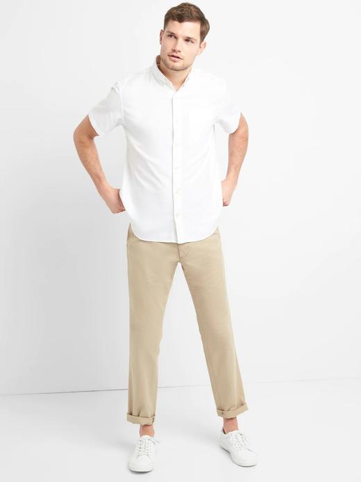 Erkek beyaz Oxford Kısa Kollu Streç Gömlek