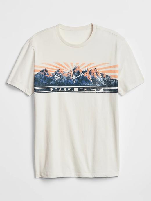Big Sky Baskılı Sıfır Yaka Jarse T-Shirt