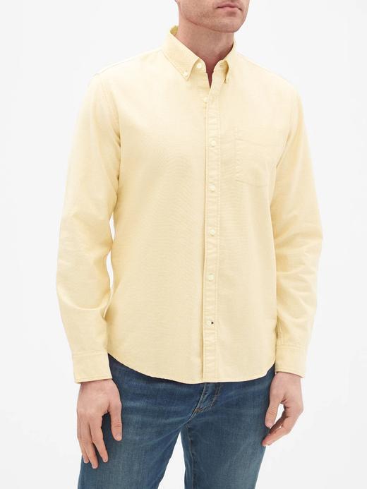 Erkek sarı Oxford Uzun Kollu Gömlek